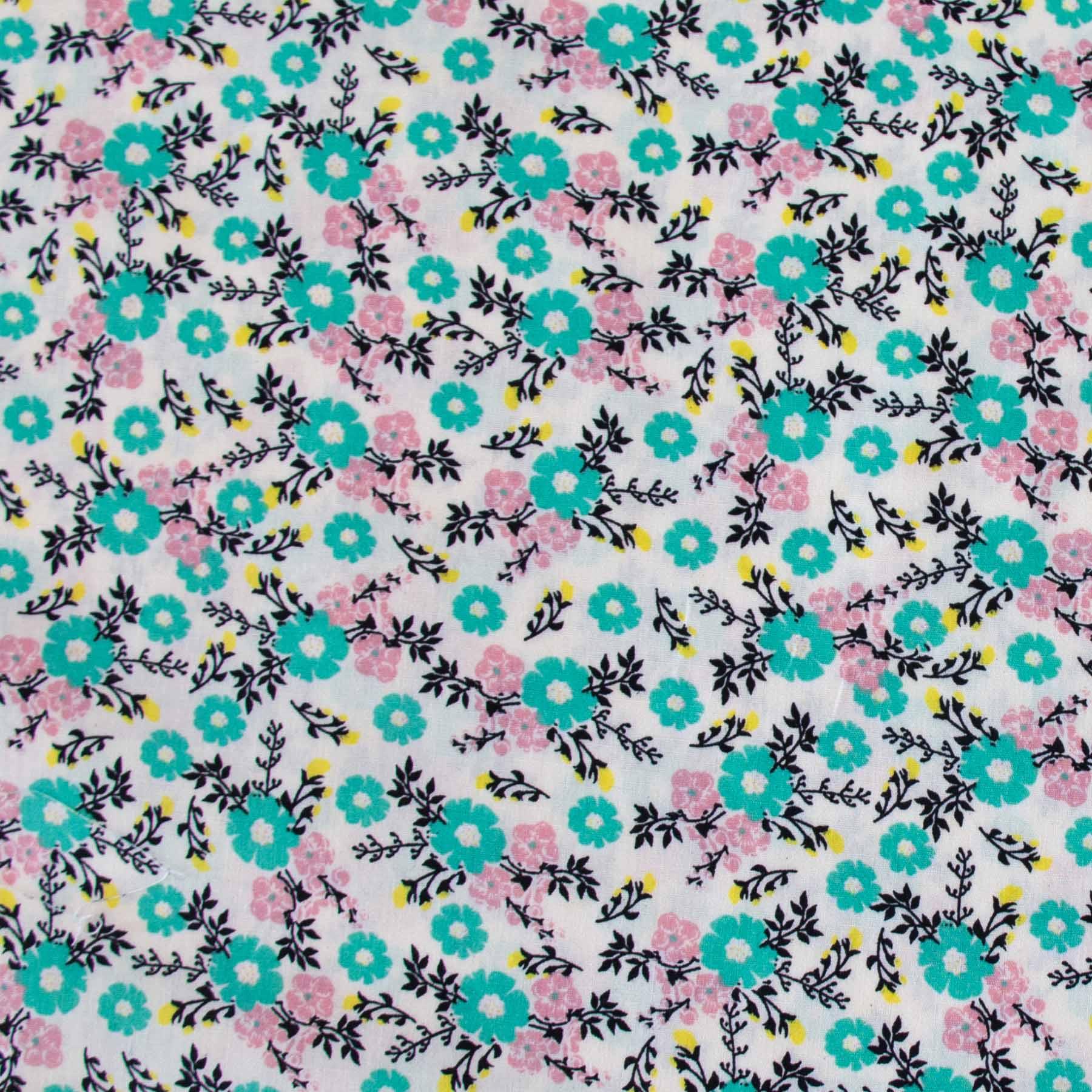 Tecido Tricoline estampado Floral verde e rosa fundo off white