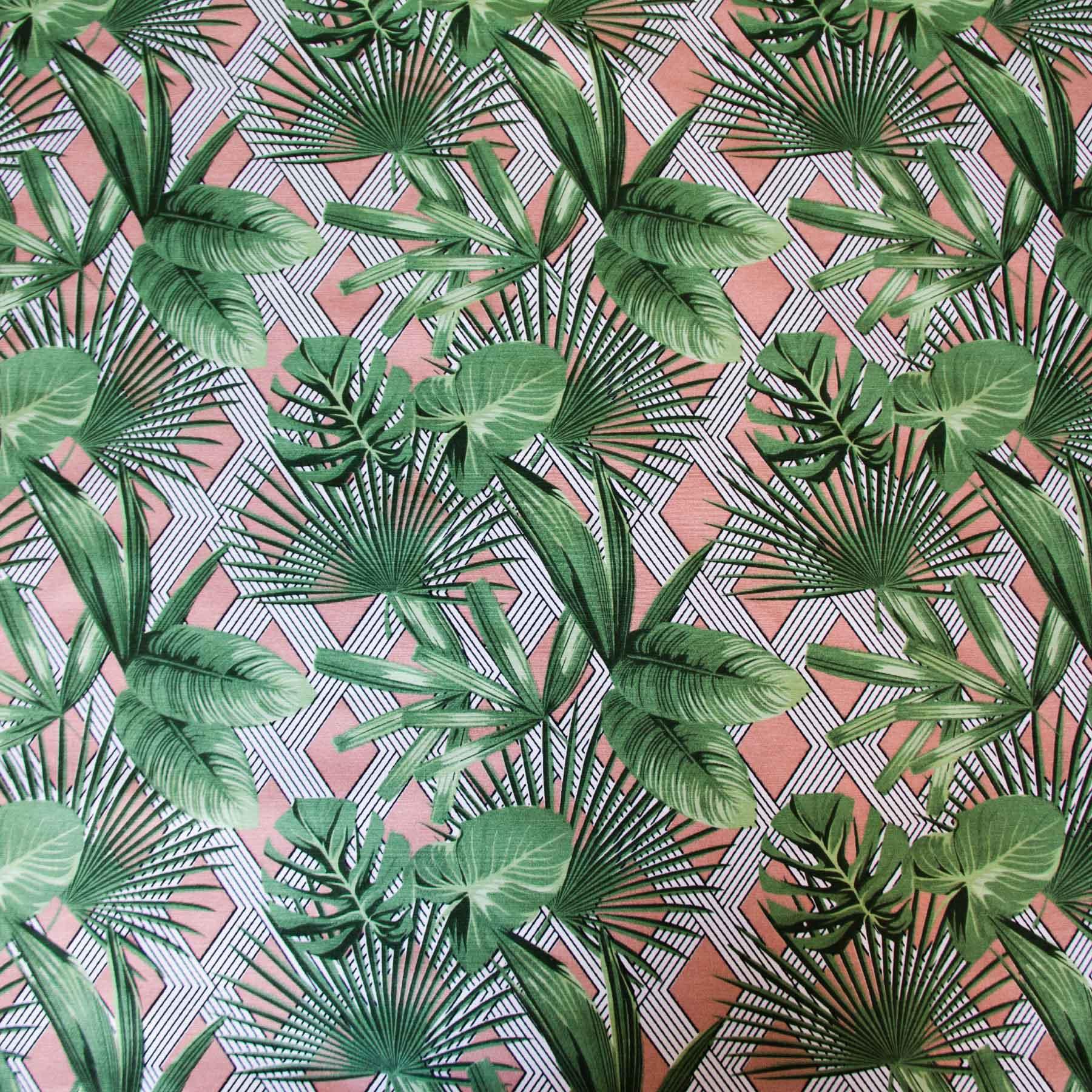 Tecido Antimanchas Folhagem verde fundo rosa - Summer