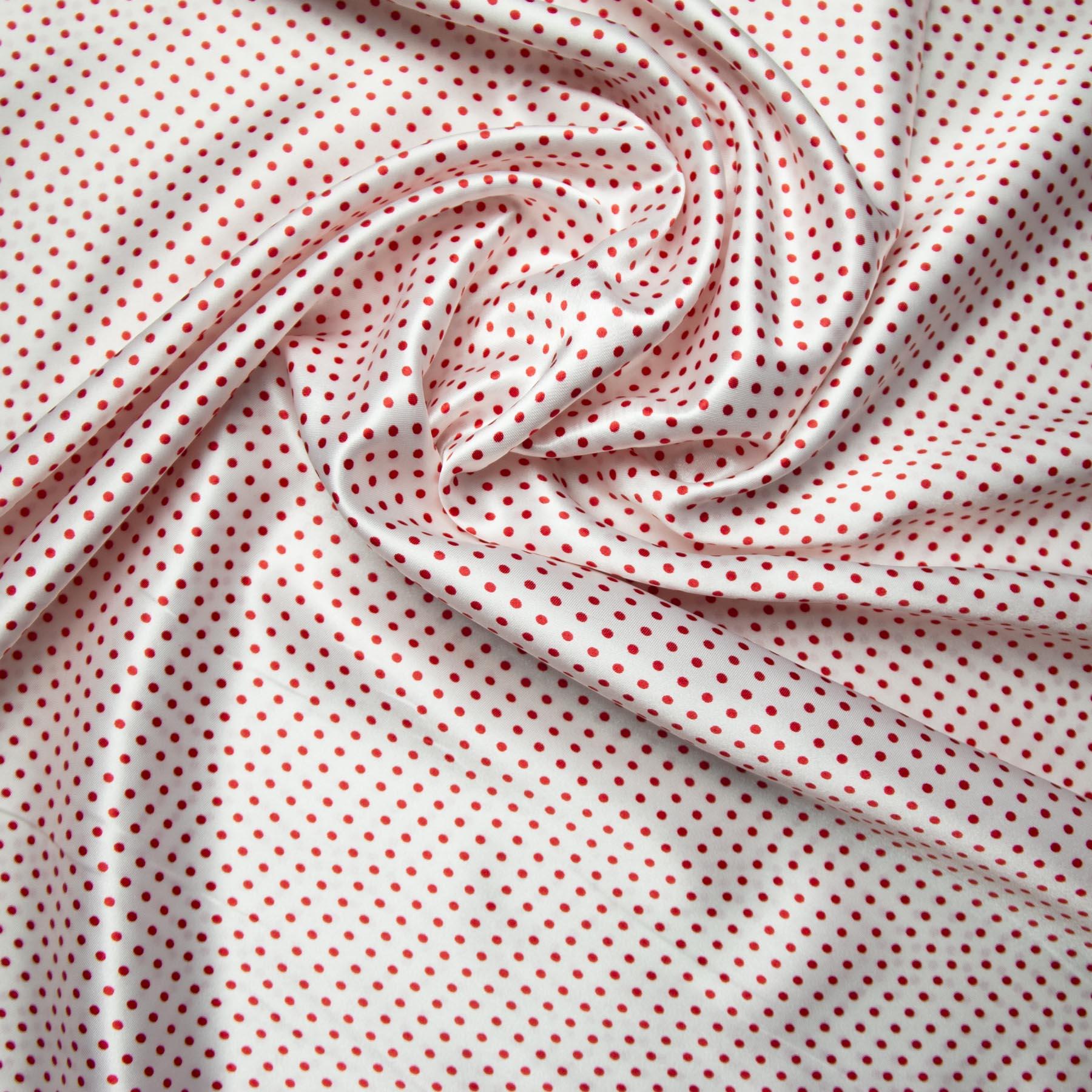 tecido cetim estampado Poá vermelho fundo branco