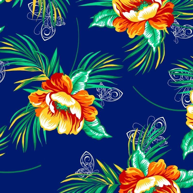 Tecido chitão 100% algodão estampado floral laranja fundo azul marinho