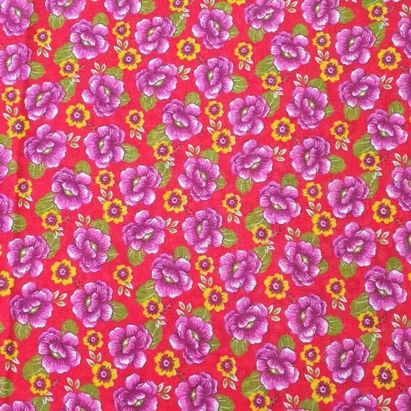 Tecido chitão 100% algodão estampado floral rosa e amarelo fundo vermelho