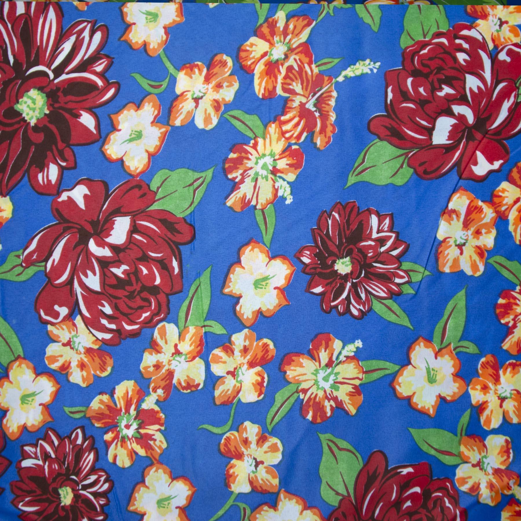 Tecido chitão 100% poliéster estampado Rosas vermelho escuro com fundo azul