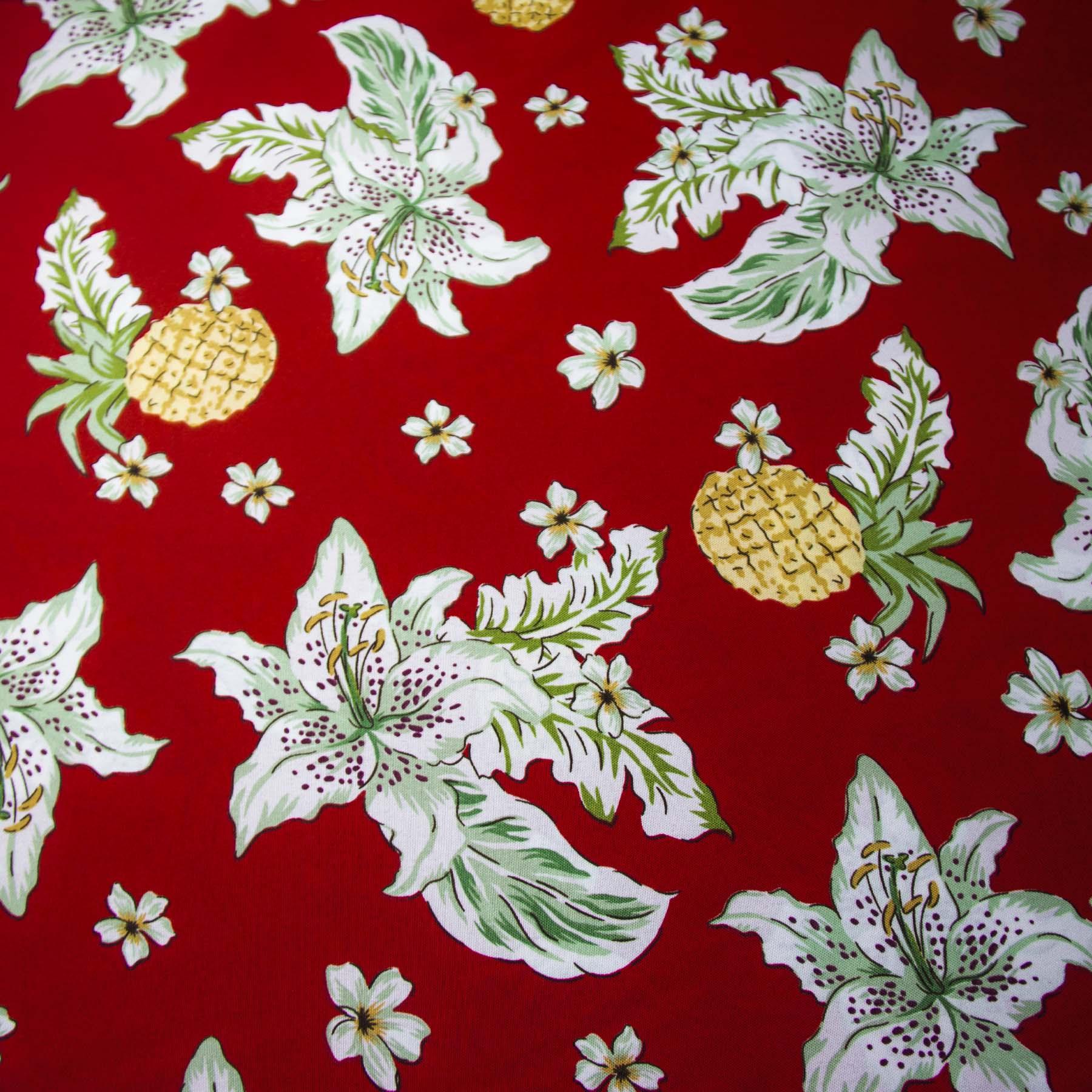 Tecido oxford estampado Abacaxi Vermelho