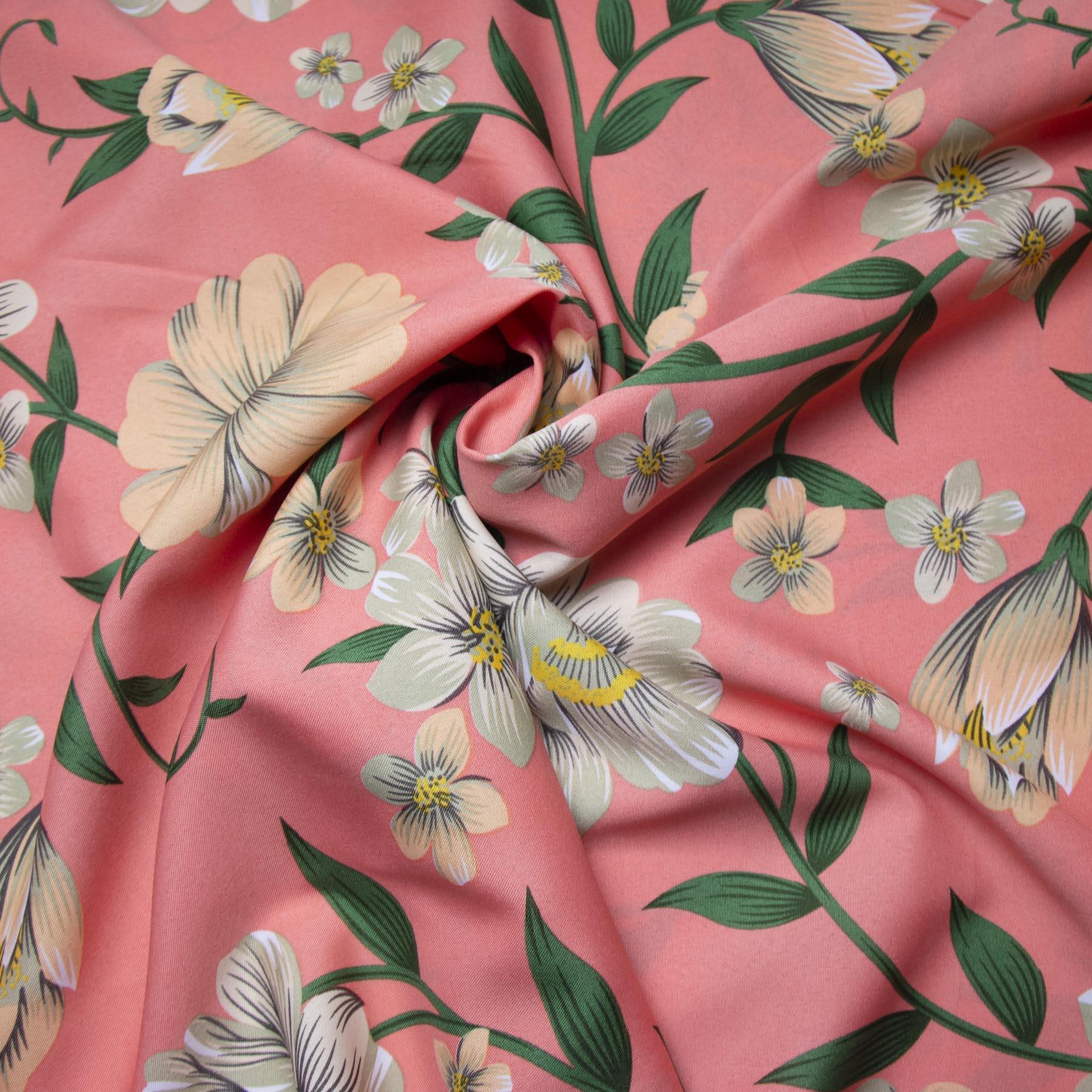 Tecido oxford estampado Floral nude fundo rosinha