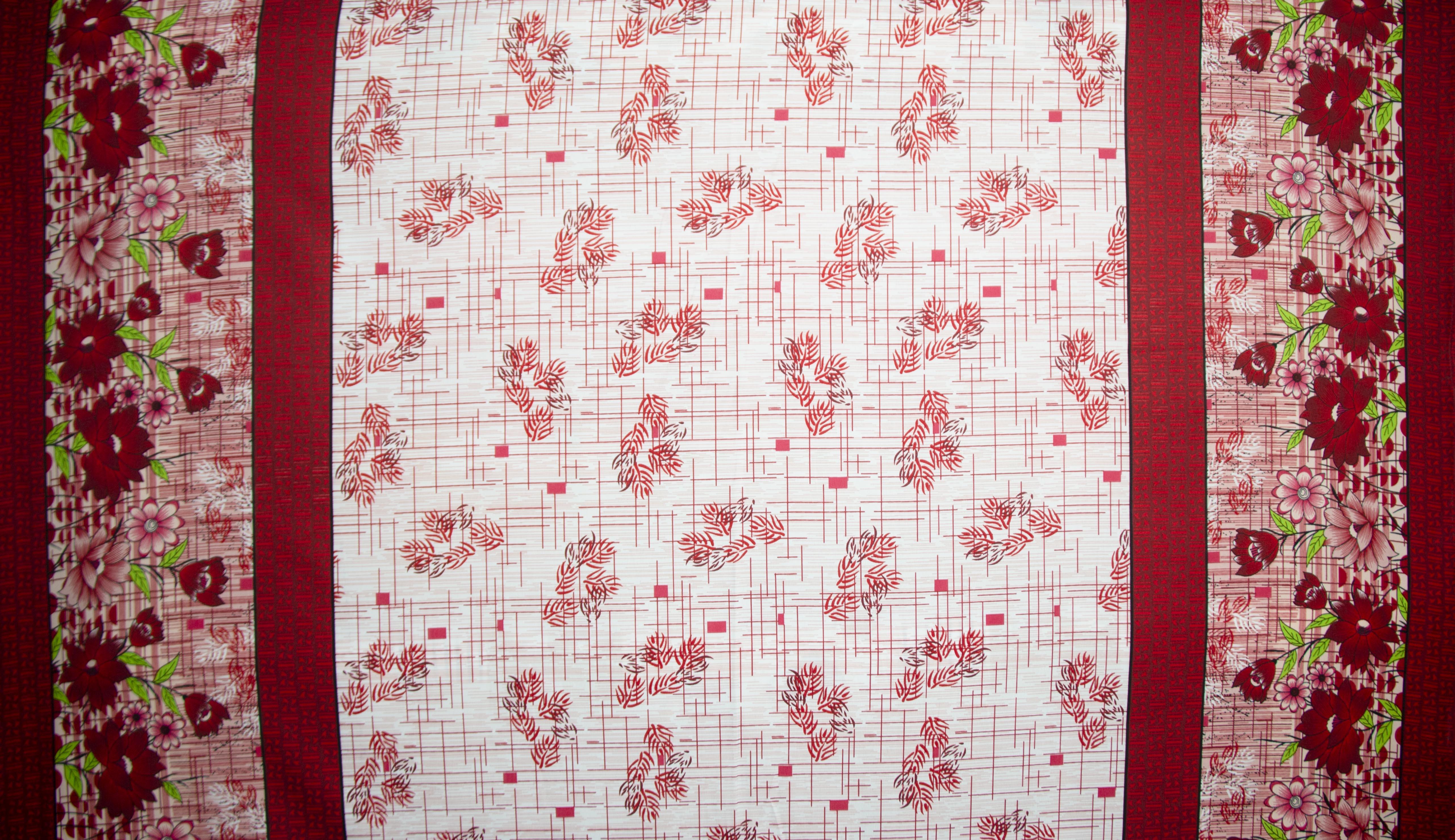 Tecido oxford estampado Floral vermelho com barrado