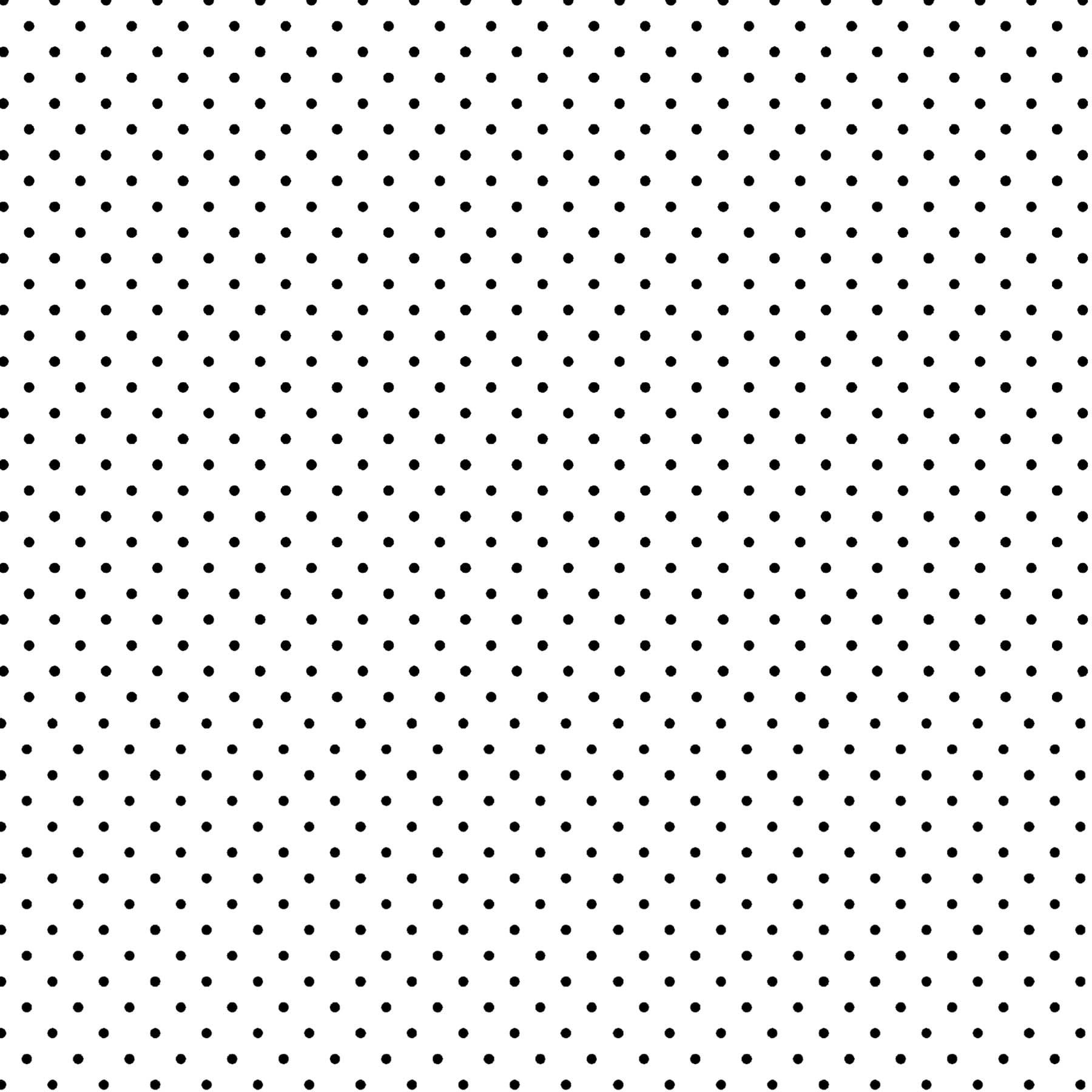 Tecido Tricoline estampado Mini Poá preto fundo branco