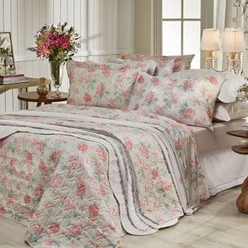 Jogo de cama solteiro Prata 150 Fios 100% algodão Giulia estampado Salmão - Santista