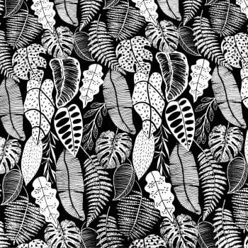 Tecido acquablock impermeável folharia preto e branco - Karsten