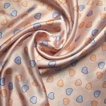 tecido cetim estampado Coração azul e amarelo bebê fundo rosé
