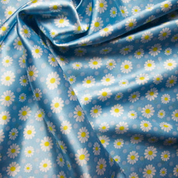 tecido cetim estampado Margarida fundo azul