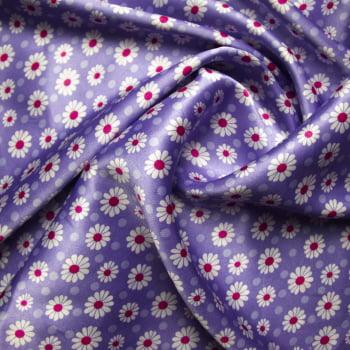 tecido cetim estampado Margarida fundo lilás