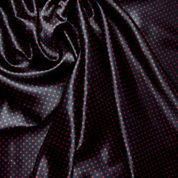 tecido cetim estampado Poá mini vermelho fundo preto