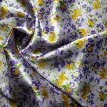 tecido cetim estampado Rosas coloridas