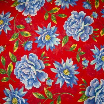Tecido chitão 100% algodão estampado floral azul e vermelho 1
