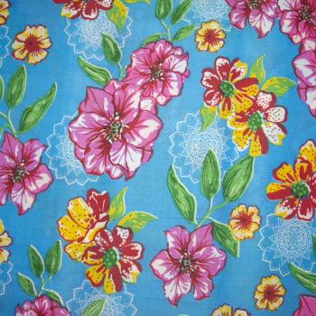 Tecido chitão 100% poliéster estampado floral rosa e mandala e fundo azul