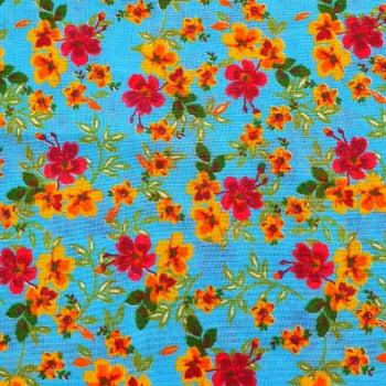 Tecido chitão 100% algodão estampado floral amarelo e vermelho fundo azul