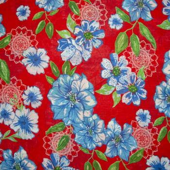 Tecido chitão 100% algodão estampado floral azul e mandala com fundo vermelho