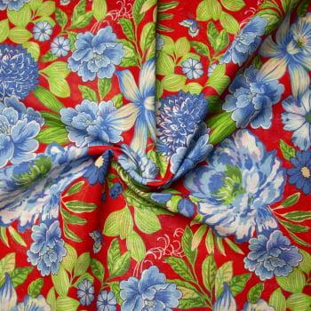 Tecido chitão 100% algodão estampado floral cheio azul fundo vermelho