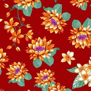 Tecido chitão 100% algodão estampado floral laranja fundo vermelho