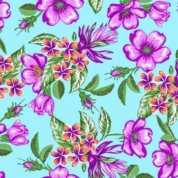 Tecido chitão 100% algodão estampado floral lilás fundo azul claro