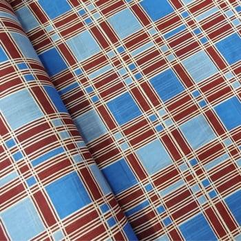 Tecido chitão 100% algodão estampado xadrez azul e marrom