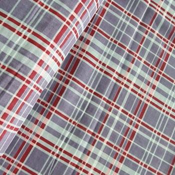 Tecido chitão 100% algodão estampado xadrez cinza, vermelho e bege