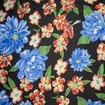 Tecido chitão 100% poliéster estampado Floral azul com fundo preto