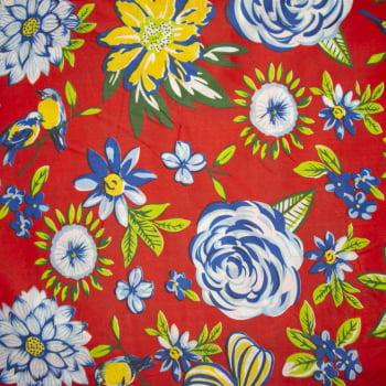 Tecido chitão 100% poliéster estampado Floral azul e amarelo fundo vermelho
