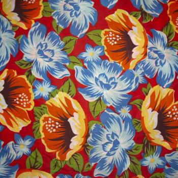 Tecido chitão 100% poliéster estampado Floral laranja e azul fundo vermelho