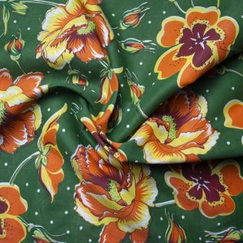 Tecido chitão 100% poliéster estampado Floral Laranja fundo Verde