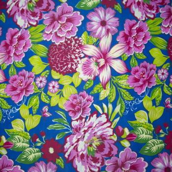 Tecido chitão 100% poliéster estampado Floral lilás fundo azul