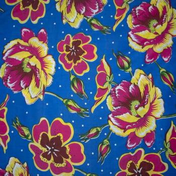 Tecido chitão 100% poliéster estampado Floral rosa amarelo e poá fundo azul