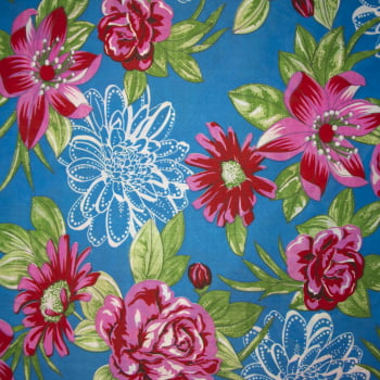 Tecido chitão 100% poliéster estampado Floral rosa e vermelho fundo azul