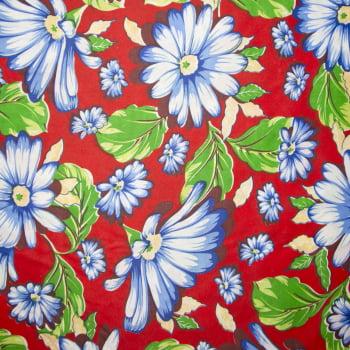Tecido chitão 100% poliéster estampado Margaridas azul com fundo vermelho