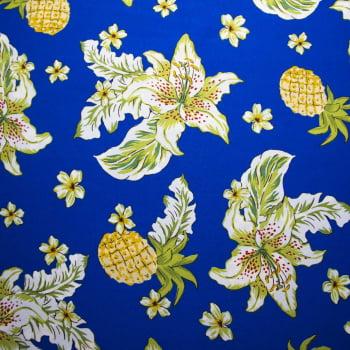 Tecido oxford estampado Abacaxi Azul