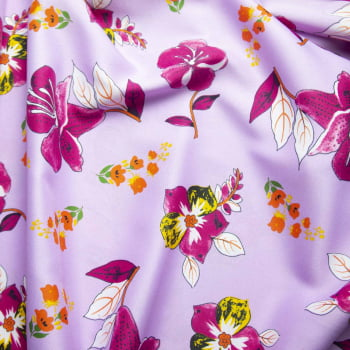 Tecido oxford estampado Flor Lilás