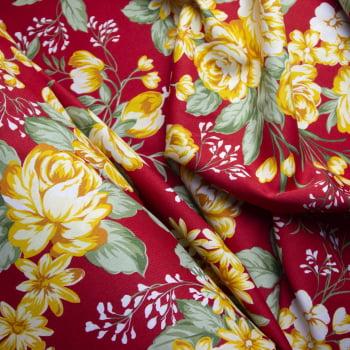 Tecido oxford estampado Floral Amarelo e vermelho