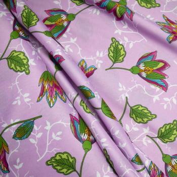 Tecido oxford estampado Floral Colorido fundo Lilás