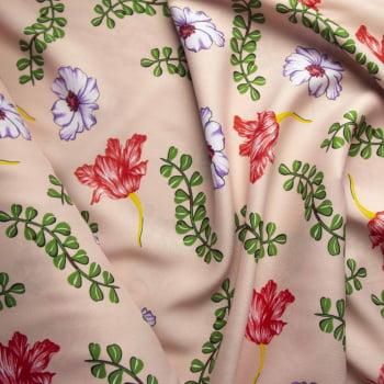Tecido oxford estampado Floral colorido fundo rosinha