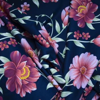 Tecido oxford estampado Floral Rosa fundo azul marinho