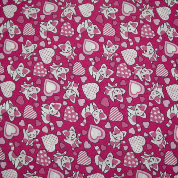 Tecido oxford estampado gatos rosa