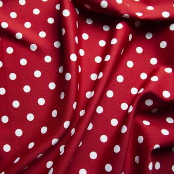 Tecido oxford estampado Poá Branco fundo Vermelho