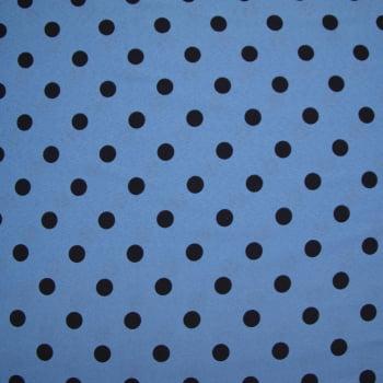 Tecido oxford estampado Poá Preto Fundo Azul