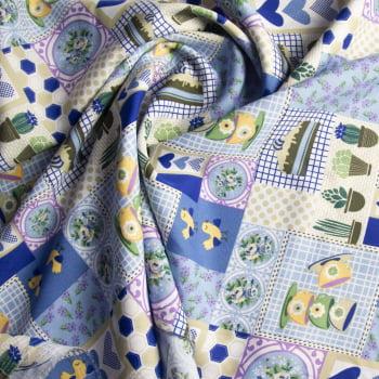 Tecido oxford estampado cacto fundo azul