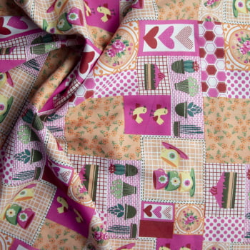 Tecido oxford estampado cacto fundo rosa