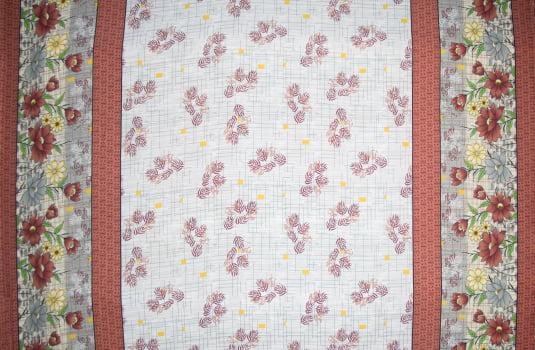 Tecido oxford estampado Floral com barrado
