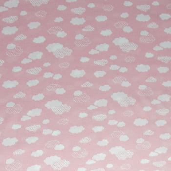 Tecido oxford estampado nuvens fundo rosa