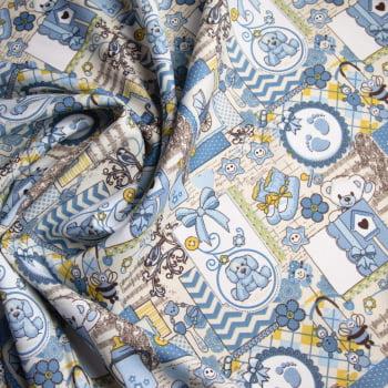 Tecido oxford estampado ursinho azul