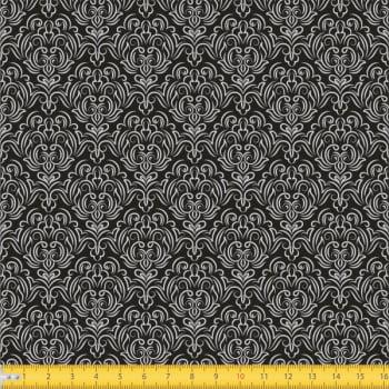 Tecido Tricoline estampado Arabesco com fundo preto