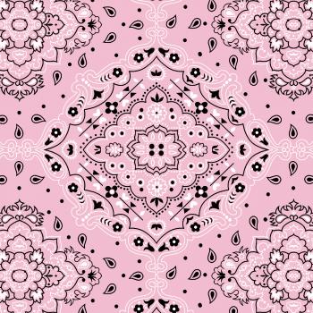 Tecido Tricoline estampado bandana rosa claro